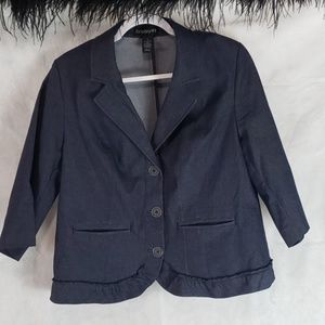 Plus size LANE BRYANT denim ruffled hem blazer 16